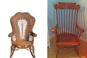 antique rocking chair with lion head arms