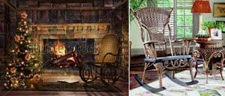 vintage rocking chairs fireplace