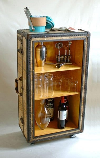 vintage suitcase as bar storage and table