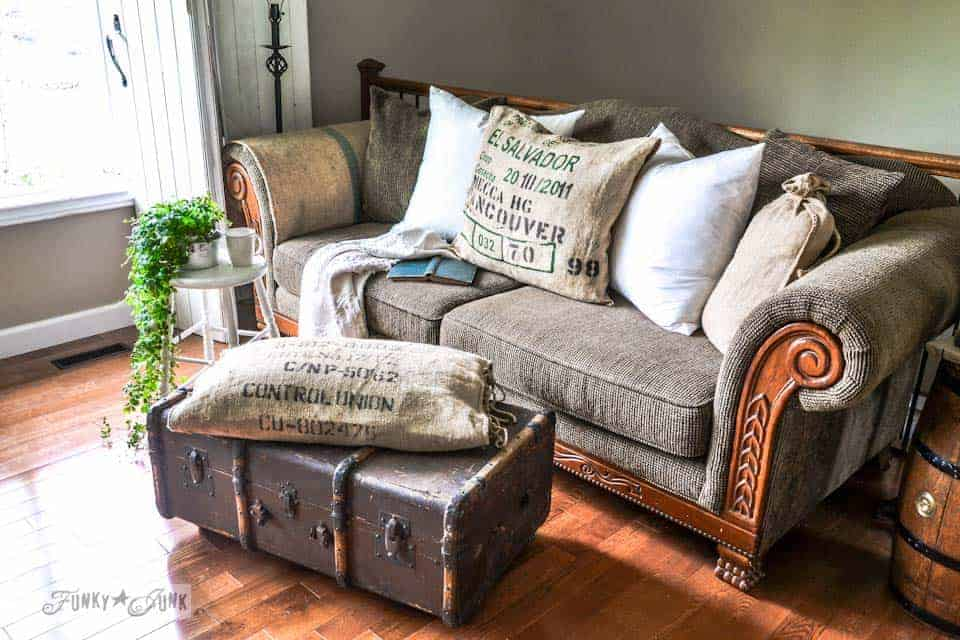 Vintage Suitcase As Ottoman And Coffee Table