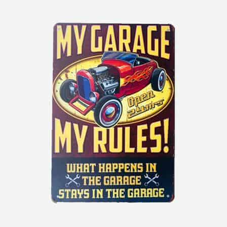 vintage garage car tin sign