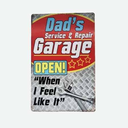 vintage dad's garage tin sign