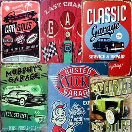 vintage car tin sign