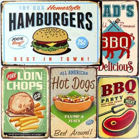 meat tin signs
