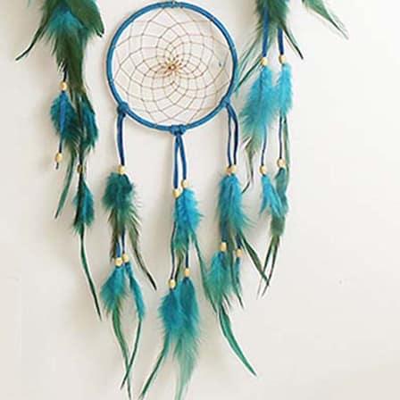 handmade retro blue dreamcatcher