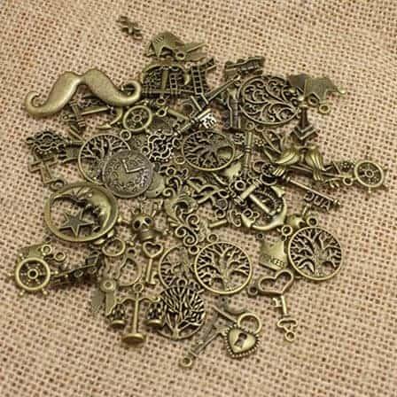 antique bronze European pendant charms