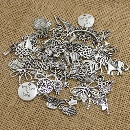 antique silver European pendant charms