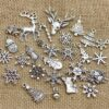Assorted Antique Silver Christmas Pendant Charms (60pcs/lot)
