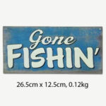 Vintage Gone Fishing Tin Sign
