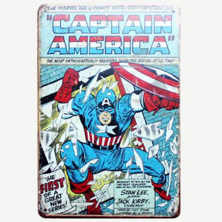 Vintage Captain America Tin Sign