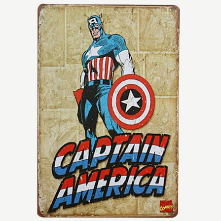 Vintage Captain America Tin Sign
