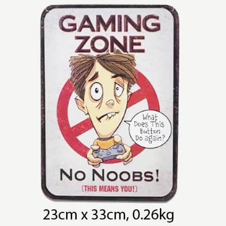 Vintage Gaming Zone No Noobs Tin Sign