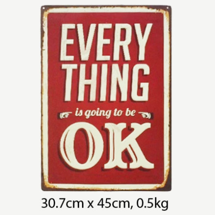 Vintage Everything is Going to be OK Tin Sign