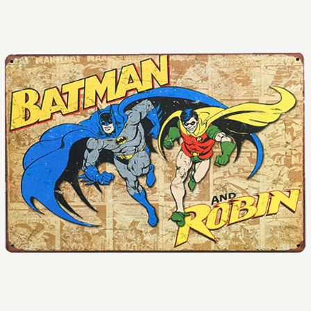 Vintage Batman and Robin Tin Sign