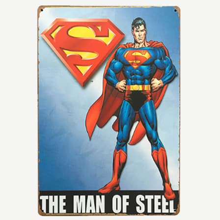 Vintage Man of Steel Superman Tin Sign