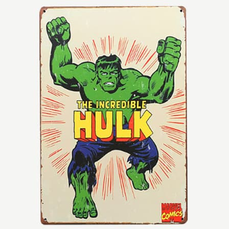 Vintage The Incredible Hulk Tin Sign