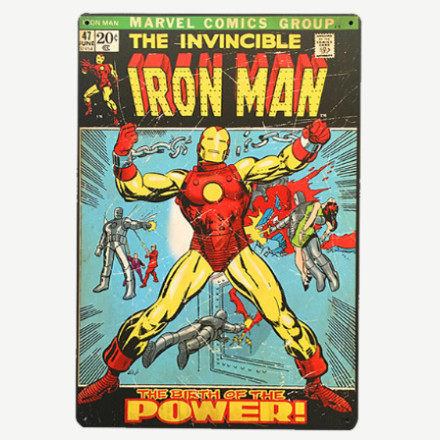 Vintage The Invincible Iron Man Tin Sign