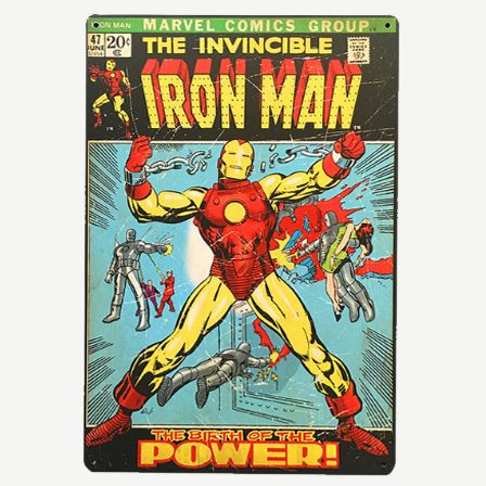 Vintage The Invincible Iron Man Tin Sign
