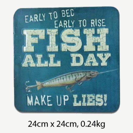 Vintage Early to Bed Early to Rise Fish All Day Tin Sign