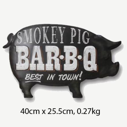 Vintage Smokey Pig BarBQ Tin Sign
