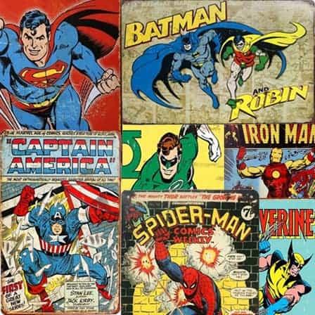 super heroes vintage tin sign