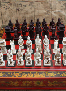 Vintage Chinese Terracotta Warriors Chess Set