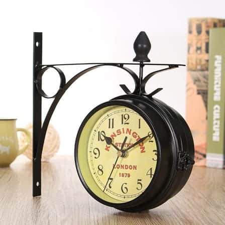 Vintage Double-Sided Metal Wall Clock