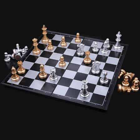 Vintage Hand Carved Chess Set with Folding Box