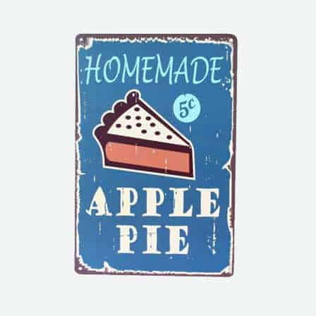 homemade apple pie tin sign