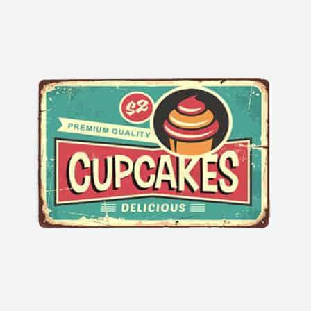 delicious cupcakes tin sign