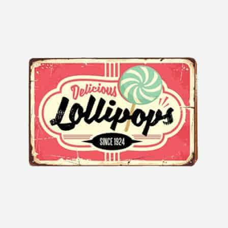delicious lollipops metal tin sign