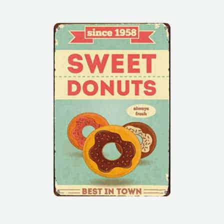Sweet Donuts vintage tin sign