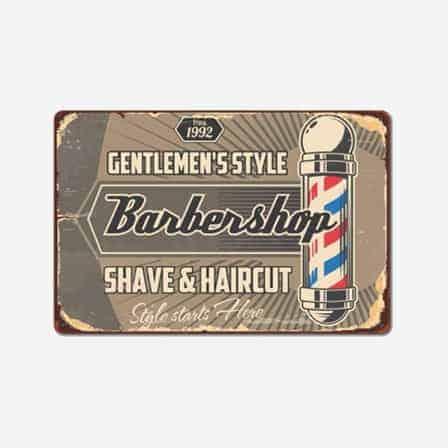 vintage barber shop tin sign