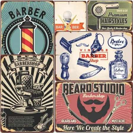 vintage barber tin signs