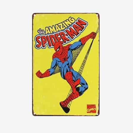 super heroes spiderman vintage tin sign