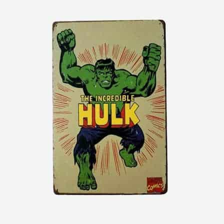 super heroes The Hulk vintage tin sign
