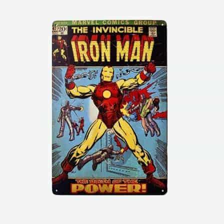 super heroes Iron Man vintage tin sign