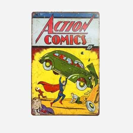 super heroes Action Comics Marvel vintage tin sign