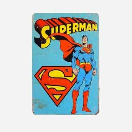 super heroes superman vintage tin sign