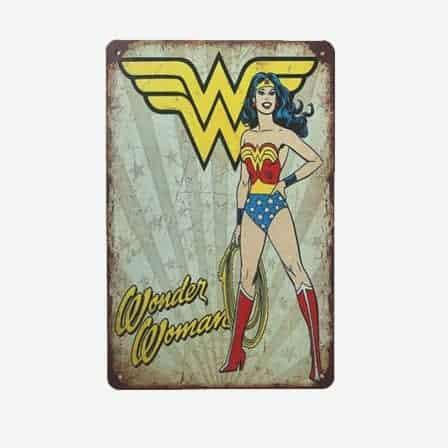 super heroes Wonder Woman vintage tin sign