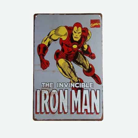 super heroes The Invincible Ironman Iron Man vintage tin sign
