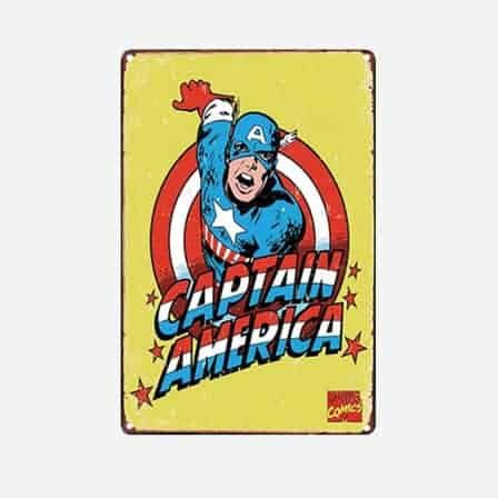 super heroes captain america vintage tin sign
