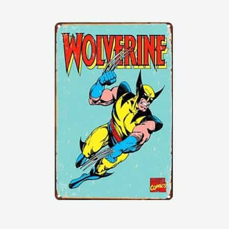 super heroes Wolverine vintage tin sign