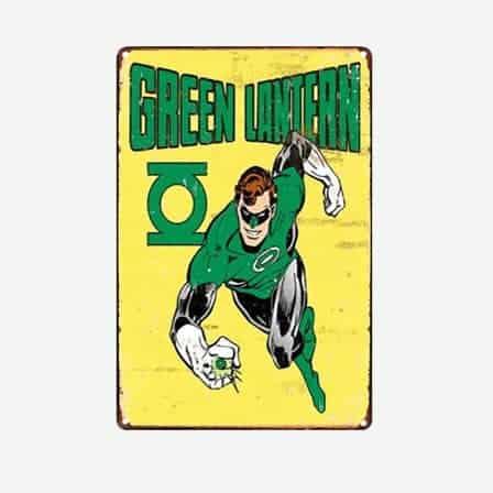 super heroes green lantern vintage tin sign