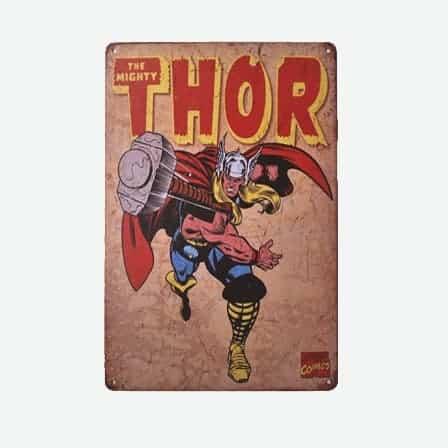 super heroes Thor vintage tin sign