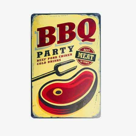 BBQ Party Best in town vintage tin sign