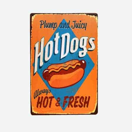 Plump Hot dogs vintage tin sign
