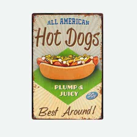 hot dogs vintage tin sign