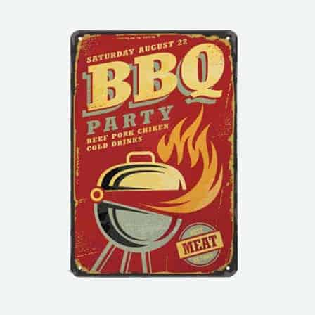 bbq party vintage tin sign