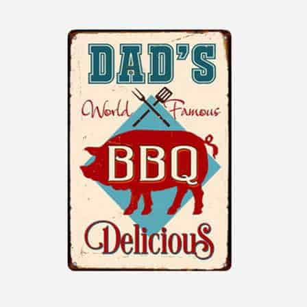 dad's world famous BBQ tin sign